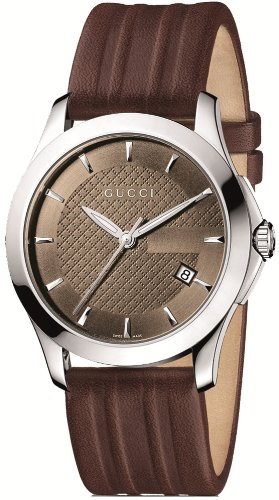 Gucci Men's YA126403 G-Timeless Medium Brown Dial Brown Leather Watch