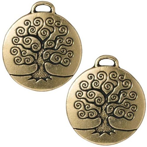 22K Gold Plated Pewter Round Tree Of Life Pendant 26mm (1)