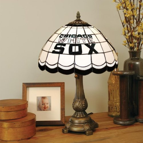 "CHICAGO WHITE SOX 20"" Hand Cut Stained Glass TIFFANY TABLE LAMP with a Cast Metal Base"