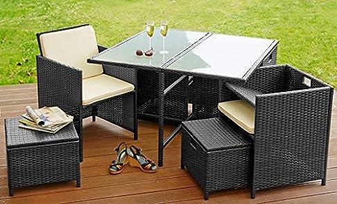 Poli Rattan Set Mobili da Giardino Arredamento Set 4 Sedie + Tavolo + 4 Sgabelli Nero Lagento