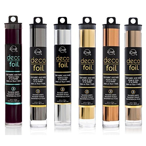 Deco Foil - Transfer Sheets - Black, Pewter, Silver, Gold, Rose Gold, and Copper - Bundle of 6 Metal Colors (Color: Multicolor)