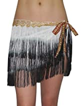 Womens Sexy Exotic Belly Dance Hip Scarf / Belt With Fringe Black & White