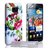 Samsung Galaxy S2 Blue And Pink Floral Silicone Caseby Yousave Accessories