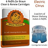 6 Refills for Braun Clean & Renew Cartridges - Electric Citrus - Cleaner Solution for all Braun Self Cleaning Razors