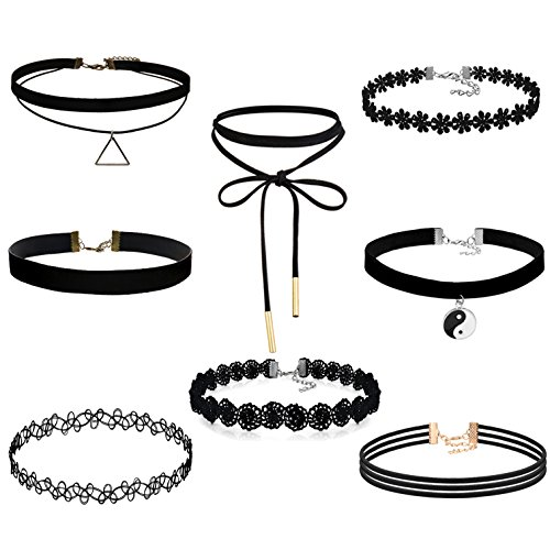 Fibo Steel 8 10pcs Womens Black Velvet Choker Necklace For Girls