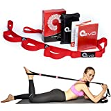 Yoga EVO Premium Stretching Strap with Loops + eBook & 35 Online Video Exercises, 90 Days Money Back Guarantee, Stretch To Get Fit, Pilates Poses & Postures, Ballet Stretches, Mat Workout, Aerobic