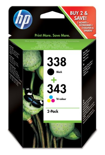 HP 338 2er-Pack 343 Original Tintenpatrone Schwarz/dreifarbig