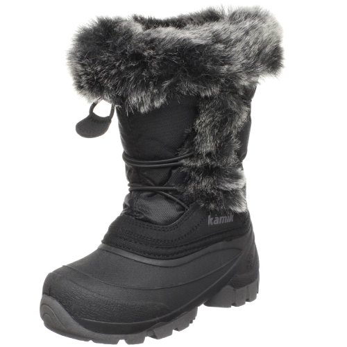 Kamik Cheeky Faux Fur Cold Weather Boot (Toddler/Little Kid/Big Kid),Black,7 M US Big Kid
