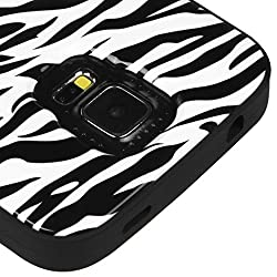 MyBat Samsung Galaxy S5 VERGE Hybrid Protector Cover - Retail Packaging - Zebra Black
