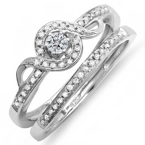 Sterling Silver Round Diamond Ladies Bridal Promise Ring Set Matching Band 1/3 CT (0.33 cttw, G-H Color, SI-I Clarity)