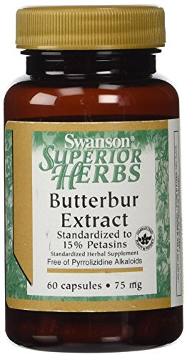 Swanson Superior Herbs Butterbur Extract 75mg -- 2 Bottles each of 60 Capsules