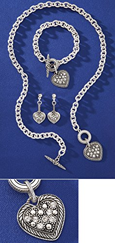 Collections Etc Crystal Heart Silver Jewelry Set