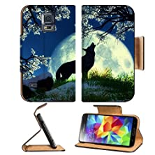 buy Wolf Howling Moon Night Flowers Samsung Galaxy S5 Sm-G900 Flip Cover Case With Card Holder Customized Made To Order Support Ready Premium Deluxe Pu Leather 5 13/16 Inch (148Mm) X 2 1/8 Inch (80Mm) X 5/8 Inch (16Mm) Msd S V S 5 Professional Cases Accessori