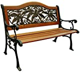 DC America  SL5660CO-BR,  Palm Springs Camelback Bench,  Cast Iron Frame and Hardwood Slats, Rust Resistant Bronze Finish