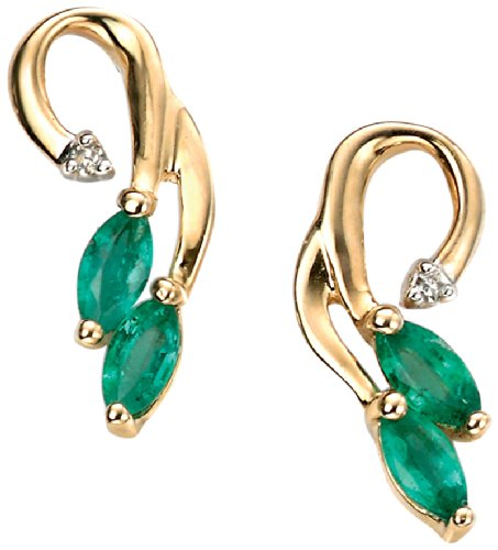 Elements Gold Ladies 9ct Yellow Gold Emerald and Diamond Vine Drop Earrings