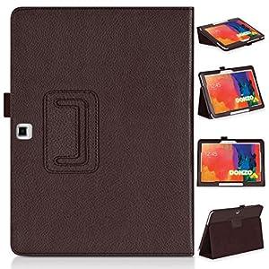DONZO STRUCTURE Tasche Flip Case Etui für Samsung Galaxy Tab 4 T530 & T535 mit Standfunktion - Braun