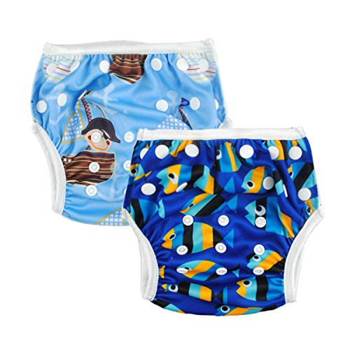 Alva Baby 2Pcs Pack One Size Reuseable Washable Swim Diapers Sw03-04