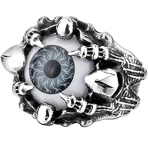 Men's Vintage Gothic Biker Dragon Claw Evil Devil Eye Skull Stainless Steel Ring Grey White Black Silver Size 11 (Dragon Eye Ring compare prices)