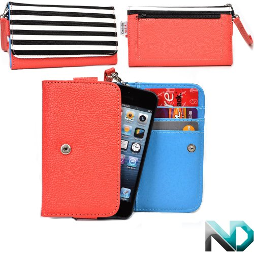 Alcatel Ot-838 Smartphone Wristlet [Black And White Stripes - Coral And Electric Blue ] Universal Fit & Nextdia Cable Strap