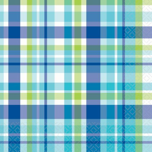 "Amscan Disposable 2-Ply Lunch Napkins in Plaid Print (16 Pack), 6.5 x 6.5"", Royal Blue/White/Caribbean Blue/Kiwi Green"