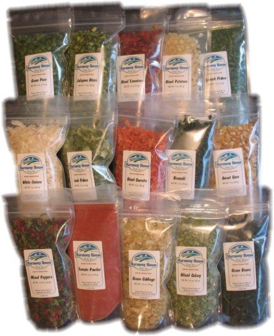 Harmony House Foods Dried Vegetable Sampler (15 Count, ZIP Pouches) for Cooking, Camping, Emergency Supply, and More