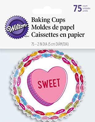 Wilton 75 Count Words Can Express Valentine's Standard Baking Cups, Multicolor