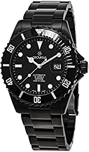 Grovana Diver Black Watch - Magnified Date Grovana Watch Mens Automatic - Stainless Steel Bracelet Swiss Dive Watch - Grovana Automatic Watch 1571.2177
