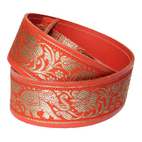 tempest-leather-thai-elephant-orange-leather-guitar-strap