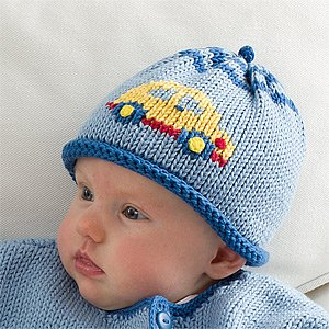 Personalized Baby Boys Knit Hat - Car front-945780
