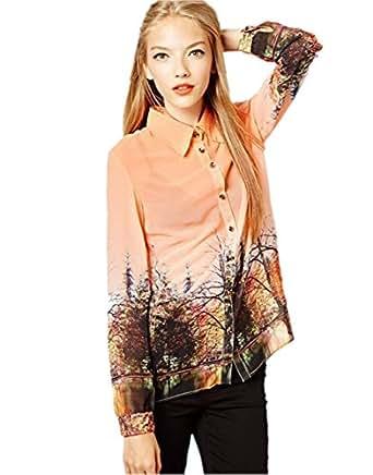 Jzoeoeu Women's Blusas Blouses Clothes Office Ladies Printed Blouse