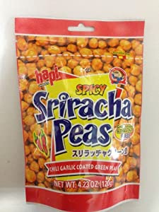 Hapi Snacks - Spicy Sriracha Peas - Chili Garlic Coated Green Peas 423 Oz Pack Of 6 by Hapi