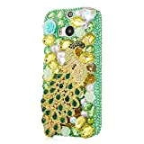 Mavis's Diary Luxury 3D Handmade Green Full Bling Crystal Rhinestone Metal Golden Peacock Design Clear Cover Case for Htc M8 with Soft Clean Cloth