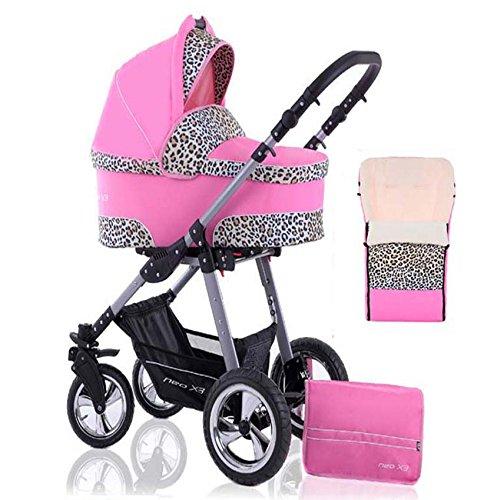 2 in 1 Kinderwagen Neo X3 - Kinderwagen + Sportwagen + Fußsack + GRATIS ZUBEHÖR in Farbe Pink-Leo