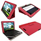 iGadgitz Pink 'Portfolio' PU Leather Case Cover for Asus Eee Pad Transformer & Keyboard Dock TF300 TF300T TF300TG & TF300TL 10.1 Android Tablet