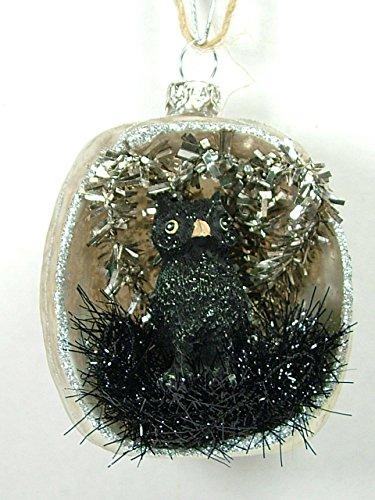 Creative Co-Op Glass White Pumpkin Black Owl Inside Trick or Treat Halloween Autumn Ornament