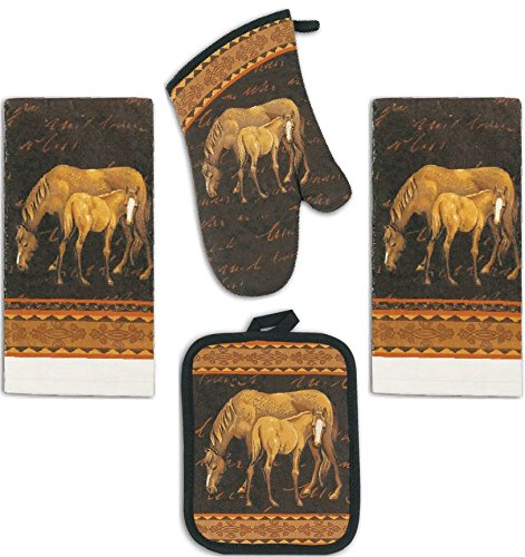 4 Piece Mare and Foal Horse Kitchen Set - 2 Terry Towels, Oven Mitt, Potholder