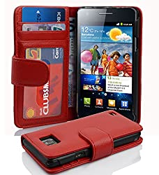 Samsung Galaxy S2 - I9100 (NOT fit S2 Plus and S2 Hercules) case , CADORABO Galaxy S2 Case Wallet [RED] Premium PU leather Wallet Case Flip Cover for Galaxy S2- RED [Lifetime Warranty]
