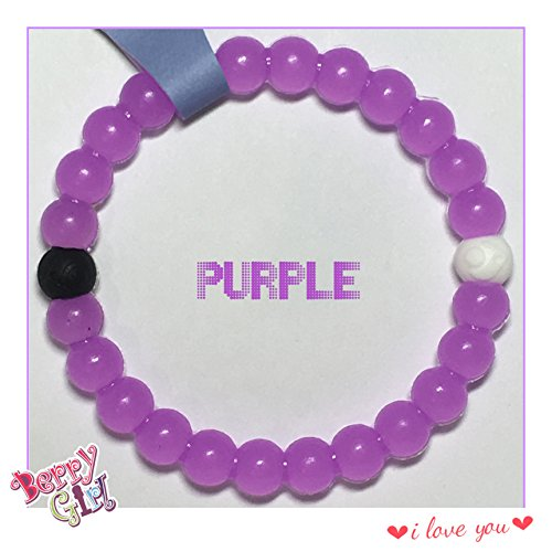 New Craze Bands High Quality Silicone Beaded Bracelet S M L Xl (M- 6 1/2 (16.5cm), Purple)