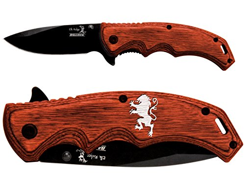 Griffin Engraved And Painted White Elk Ridge ER-A004BW Pakkawood Stalwart Folding Ballistic Pocket Knife by NDZ Performance