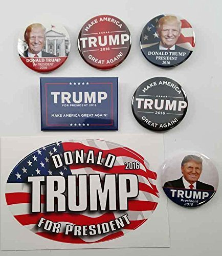[Donald Trump 2016 Set 6 campaign buttons & bumper sticker] (Bellboy Costumes)