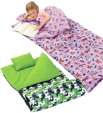 More image Super-Soft Cotton Flannel Kid's Sleeping Bag with Pillow and Storage Bag, in Green Camo