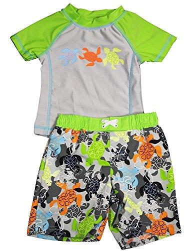 Baby Buns - Little Boys 2Pc Spf 50 Swimsuit Set, Grey, Lime 35387-4T