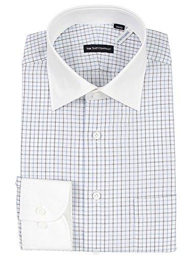 (ザ・スーツカンパニー) クレリック&ワイドカラードレスシャツ チェック 〔EC・細身〕 ホワイト×ブルー×ブラック
