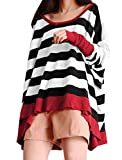 Allegra K Women Boat Neck Batwing Tops Stripe Oversize Plus Size T Shirts