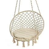 Hängesessel zum Aufhängen mit Sitzkissen rund Baumwolle Spreizstab weiß max.