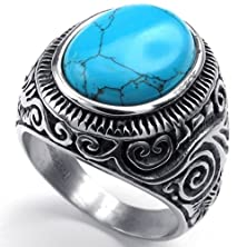 buy Konov Mens Stainless Steel Ring, Classic Vintage, Blue Silver, Size 12