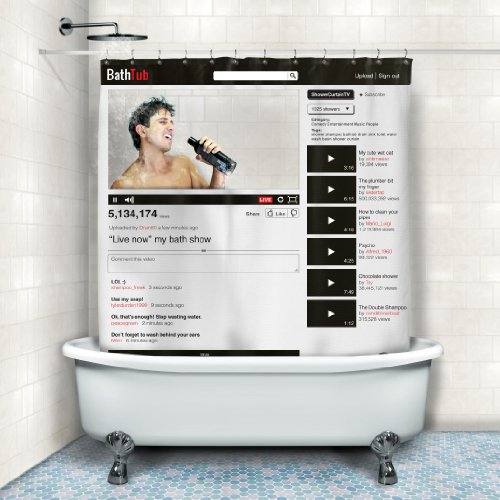 BATHTUB - ONLINE SOCIAL MEDIA BATH SHOWER CURTAIN 180 x 180cm