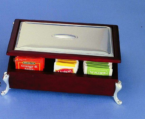 Review Wood English Tea Bag Tray Chest Silver Plated