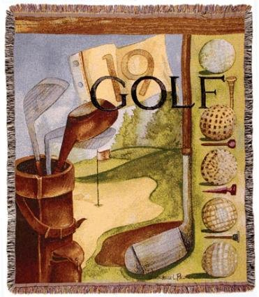 Vintage Golf Mid-Size Deluxe Tapestry Throw Blanket Usa Made front-878242