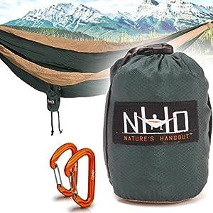 Premium Camping Hammock - Large Double Size, Portable & Lightweight. Aluminum Wiregate Carabiners Included. Ultralight Ripstop Parachute Nylon (Green/Khaki Stripe)